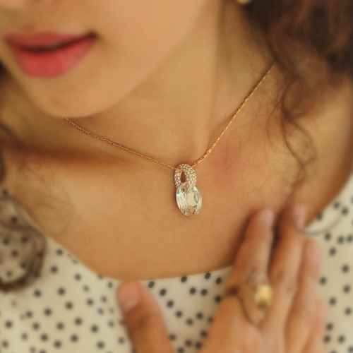 White Crystal Pendant Necklace Made with Elements of Swarovski