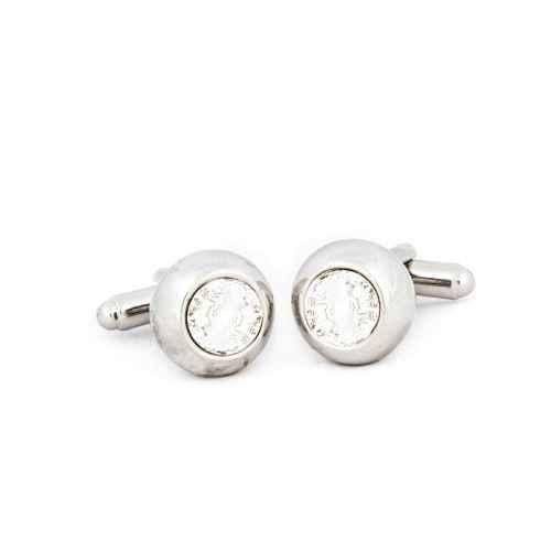 Silver Round Clear Swarowski Crystal Cufflinks