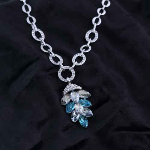 White and Blue Flake Pendant Necklace Made with Elements of Swarovski