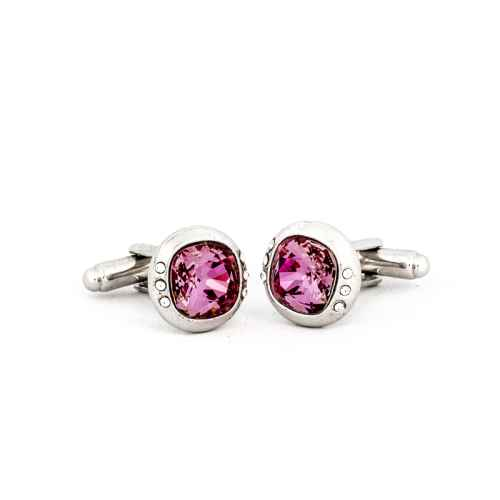 Silver Pink Crystal Cufflink made with elements from Swarovski