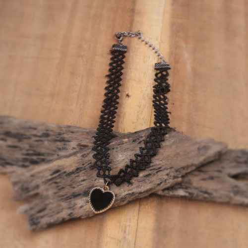 Black heart mesh Choker Necklace