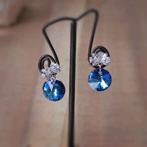 Deep Blue Swarovski Crystal Earrings
