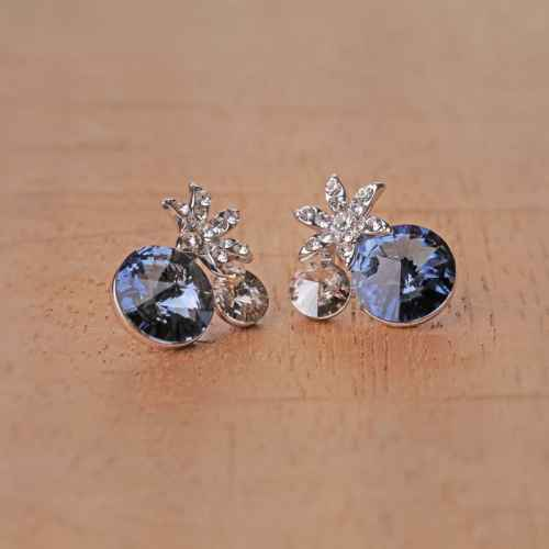 Flower and Sapphire Crystal Stud Earrings Made with Elements from Swarovski