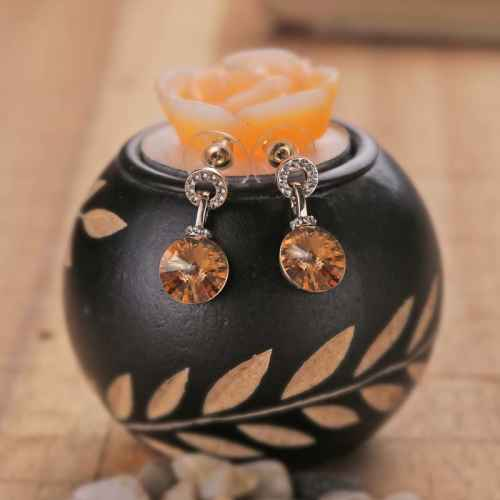 Amber Crystal drop earrings made with elements from Swarovski