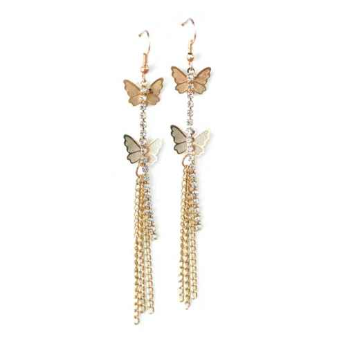 Butterfly fly gold earrings