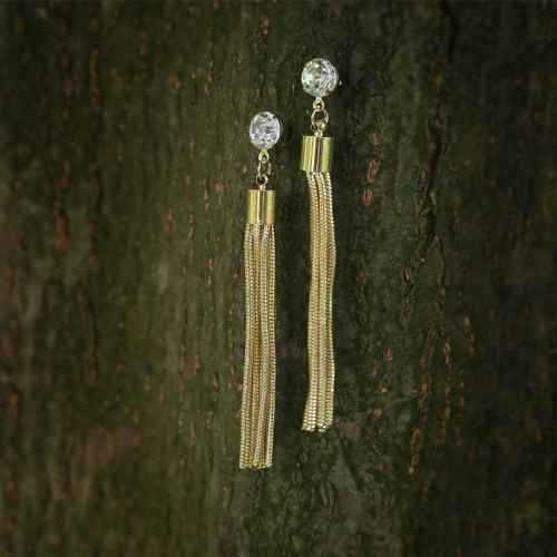Long Dangling Gold Earrings with Faux diamond