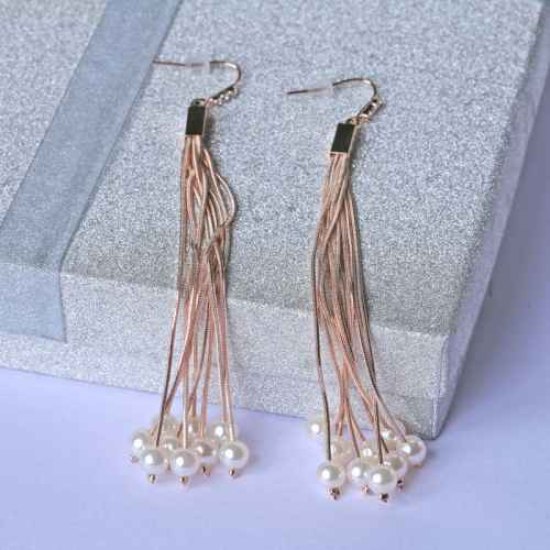 Rose Gold Dangler Earrings with Faux Pearls