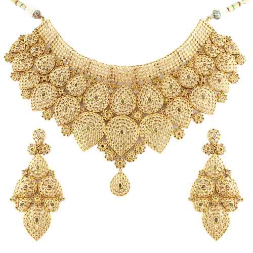 Antique Kundan Stone Studded Gold Plated Bridal Set
