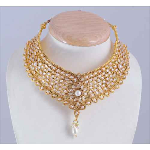 Antique Gold Plated Kundan And Faux Pearls Bridal Set