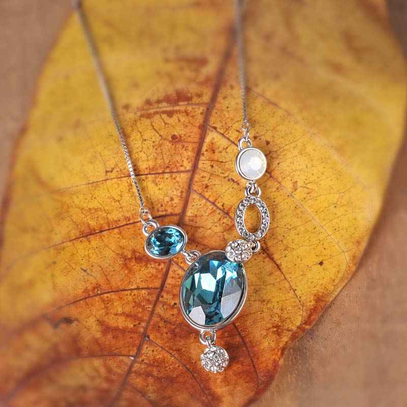 Ice Blue Pendant Necklace Made with Elements of Swarovski
