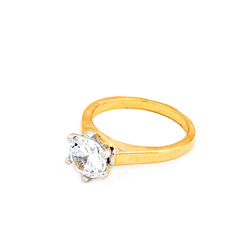 Gold plated American Diamond Solitaire Ring