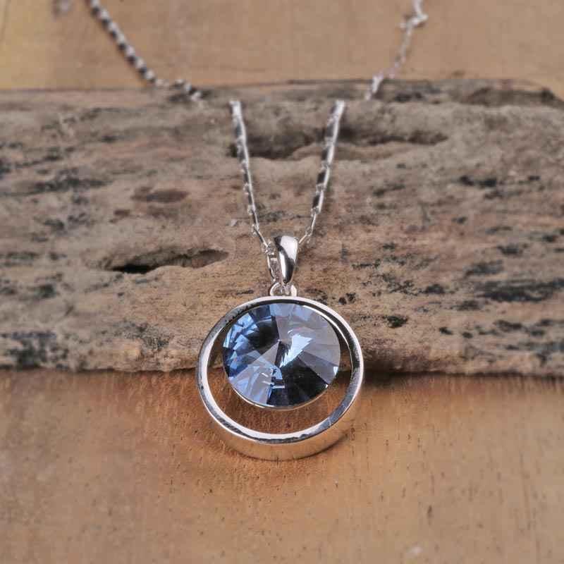 Blue Diamond in the Ring Swarovski Crystal Pendant