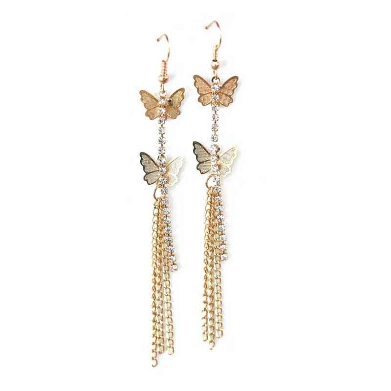 Butterfly fly gold earrings