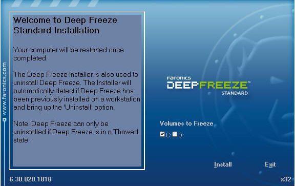 Install Deep Freeze - Partisi