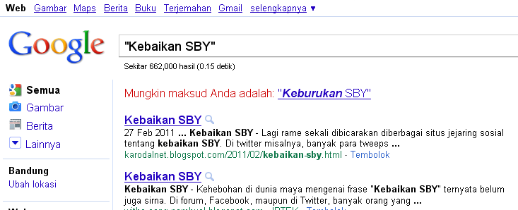 Kebaikan SBY Google Search