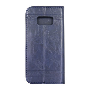 For Samsung S8 Plus SM-G955F Flower Pattern Clamshell Leather Blue With Silicone Inner Shell