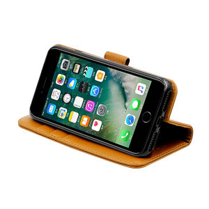 Genuine leather wallet case for iPhone7 Plus brown