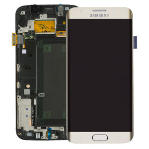 For Samsung SM-G925F S6 Edge LCD Original Assembly Gold With Frame