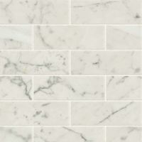 "Classic 2.0 2"" x 6"" Floor and Wall Mosaic in Bianco Carrara"