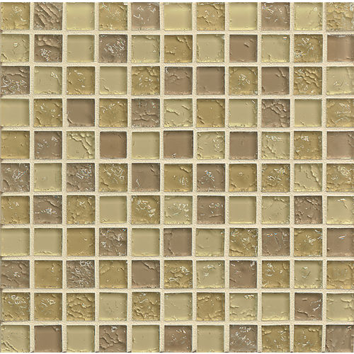 "Ice Crackle Glass Mosaic 1"" x 1"" Wall Mosaic in Cream"