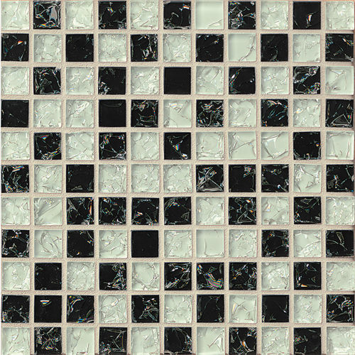"Ice Crackle Glass Mosaic 1"" x 1"" Wall Mosaic in Black"