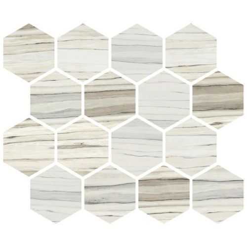 Zebrino Floor & Wall Mosaic in Calacatta, Classico, Michelang