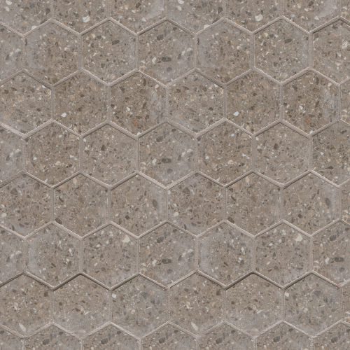 "Terrazzo 2"" x 2"" Floor & Wall Mosaic in Medium Gray"
