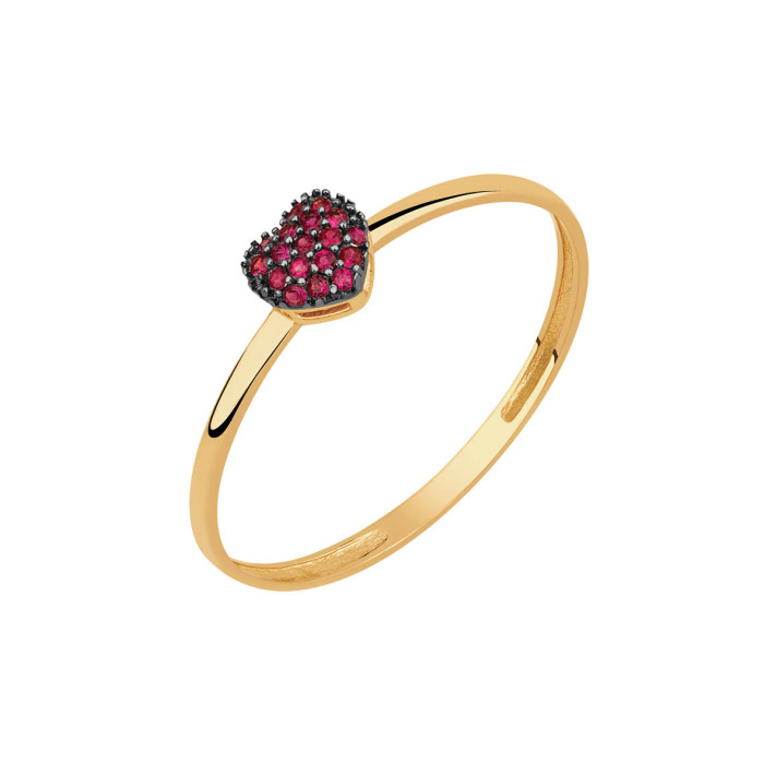 1fe08fa4a1dd6 anel coração cravejado com rubi em ouro amarelo 18k- bela valentina joias