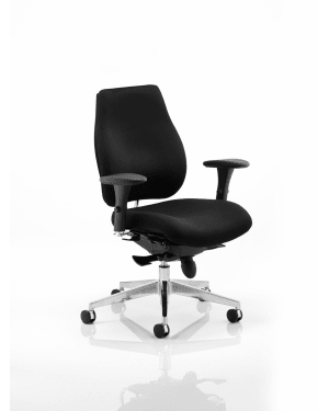 Chiro Plus 'Ergo' Posture Chair with Arms, Black Fabric