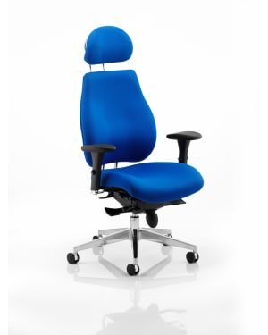 Chiro Plus 'Ergo' Posture Chair with Arms and Headrest, Blue
