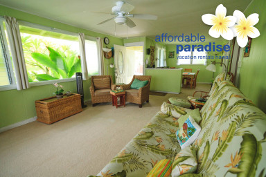 2 bedroom 1 1/2 bath Kalaheo Beach House located in beach lane, AC