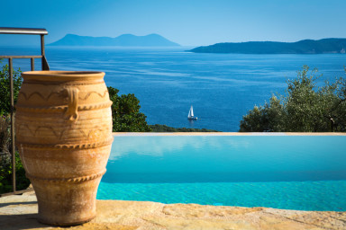 Splendid view of the endless blue Ionian Sea and surrounding islands