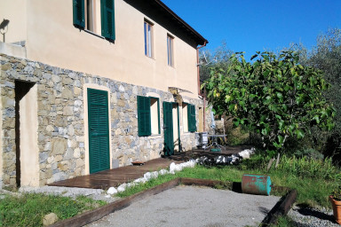 Charmig lägenhet med uteplats och prunkande trädgård med olivlund