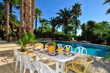 Underbar villa, med plats för 14, gömd i en oas av exotiska palmträd