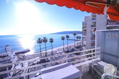 Vue mer panoramique, climatisé avec terrasse en front de mer