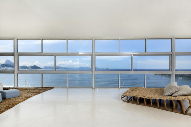living room with a view over Copacabana beach in a holiday apartment rental