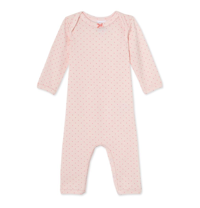 Baby girls' short wool and cotton coverall