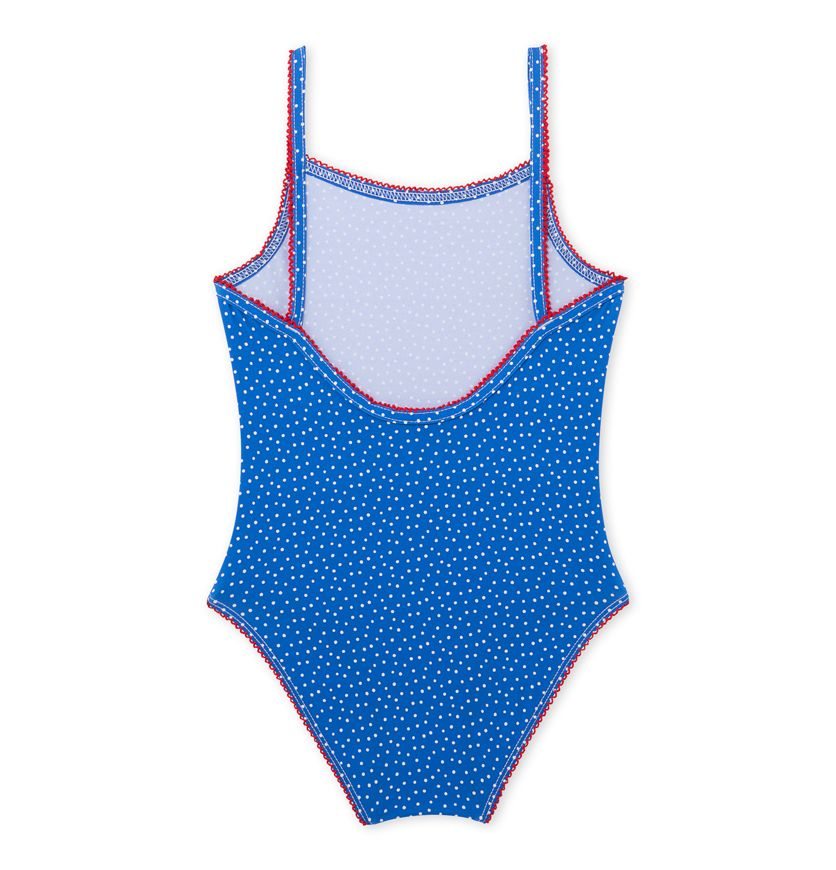 Girls' one-piece polka dot swimsuit