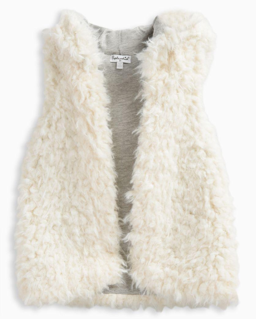 Little Girl Reversible Hooded Fur Vest