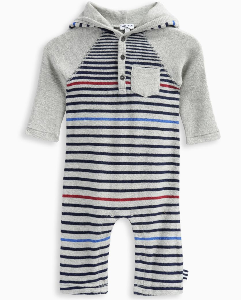 Baby Boy Reverse French Terry Striped Romper