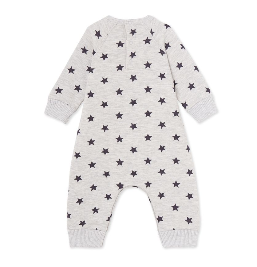 Baby boy's coverall in printed cotton fleece