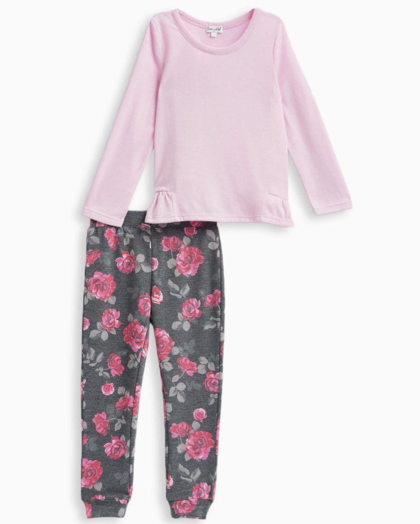 Little Girl Allover Printed Pant Set