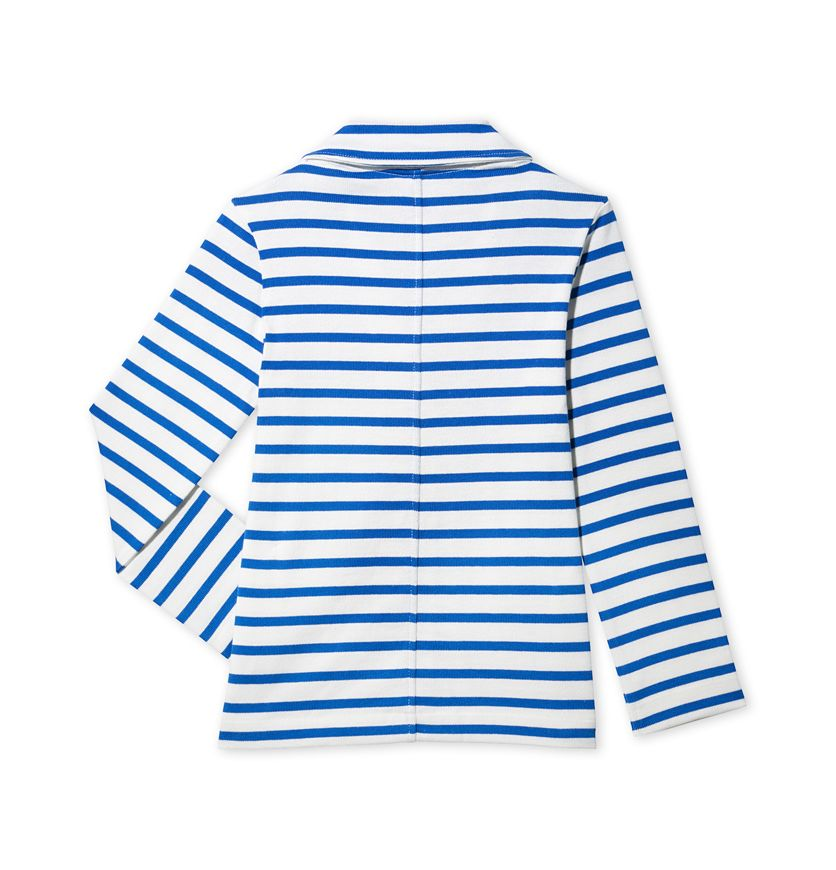 Girls' Breton jacket in striped jersey