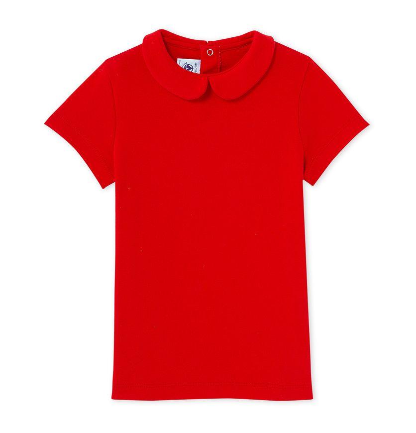 Girls' T-shirt with Peter Pan collar