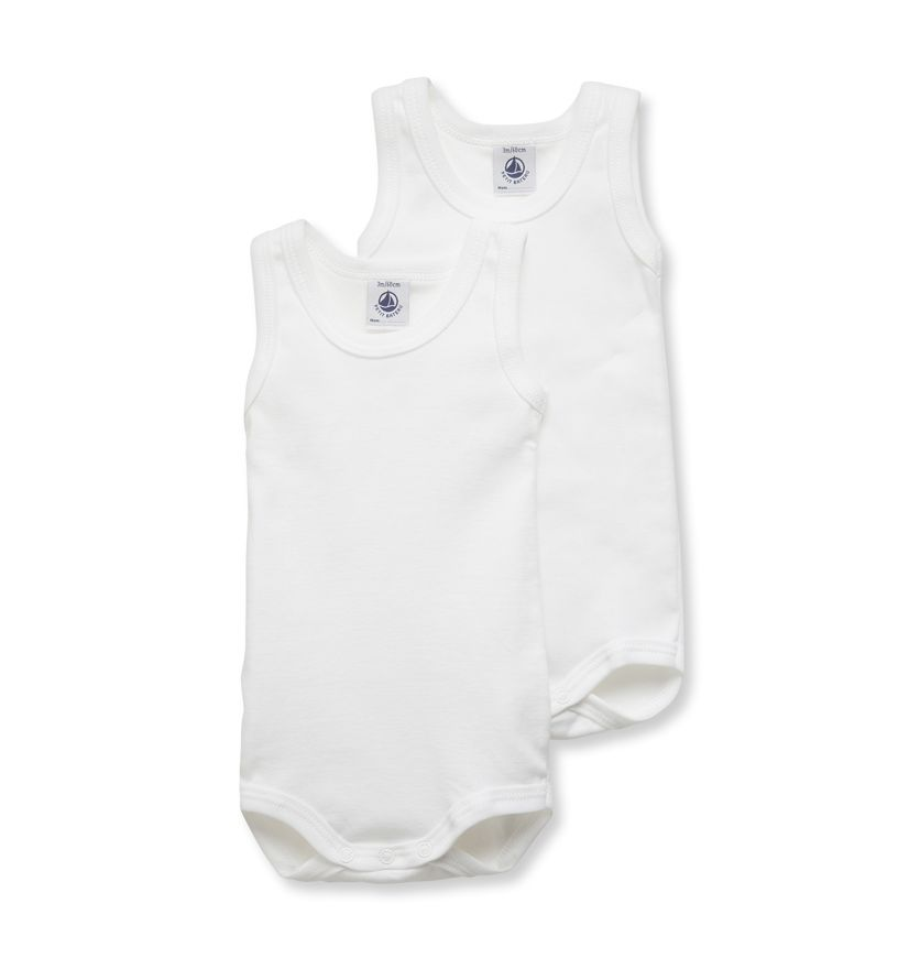Pack of 2 baby sleeveless plain bodysuits