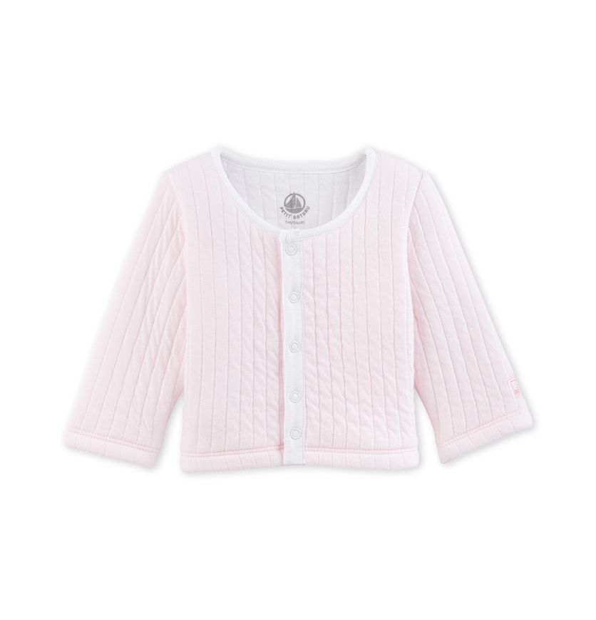 Baby quilted tube knit cardigan