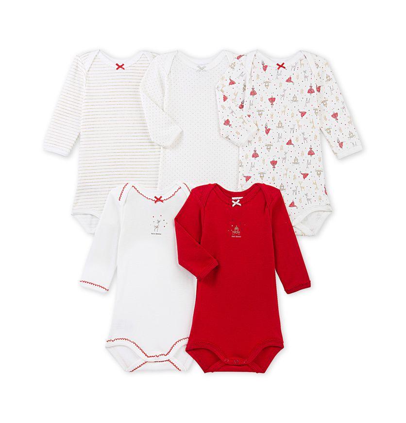 Set of 5 baby girls' long-sleeved bodysuits