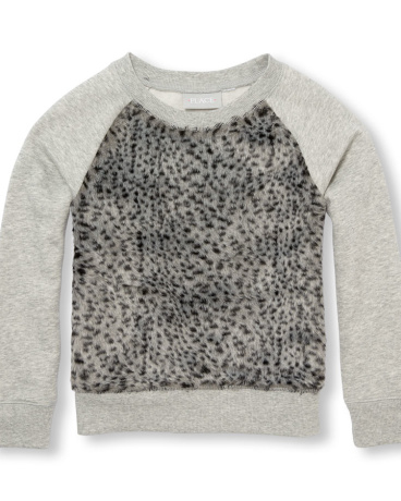 Girls Long Raglan Sleeve Faux Fur Pullover