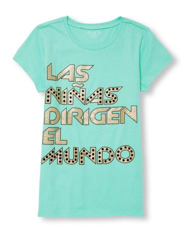 Girls Long Sleeve Glitter 'Las Ninas Dirigen El Mundo' Graphic Tee