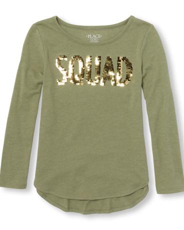 Girls Long Sleeve Flip-Sequin 'Squad' Top